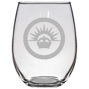 ANZAC Roundel Stemless Wine Glass Laser Etched No Colored Art