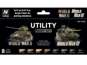 Utility WW2 & WW3 Paint Set from Vallejo (8) Colors