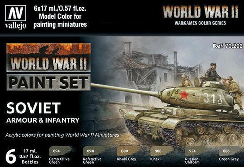 WW2 Soviet Armour & Infantry Wargames Paint Set from Vallejo (6) Colors