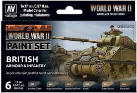 WW2 British Armour & Infantry Wargames Paint Set from Vallejo (6) Colors