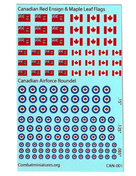 1/285 Canadian Red Ensign/ Maple Leaf Flag and Roundel  Water Slide Decals