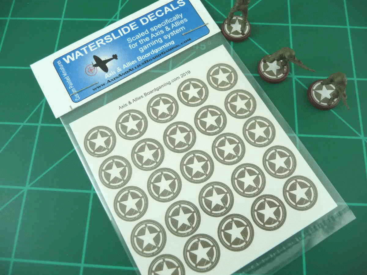 Axis & Allies US Infantry Base Insignia Water Slide Decal (x25)