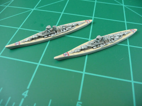 Custom Painted German Battleship By Military Miniatures (x2)