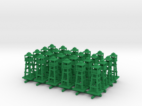 1/285 3D Printed Watch/Airport Tower (x24) in Green