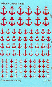 1/300-1/600 Anchor Silhouette in Red Water Slide Decals