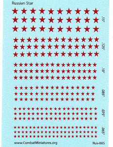 1/300 1/600 WW2 Russian Star Water Slide Decals