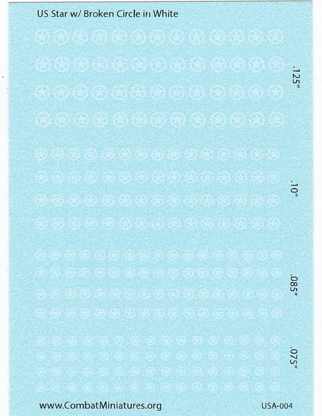 1/285 US Star in Broken Circle (White) Water Slide Decals