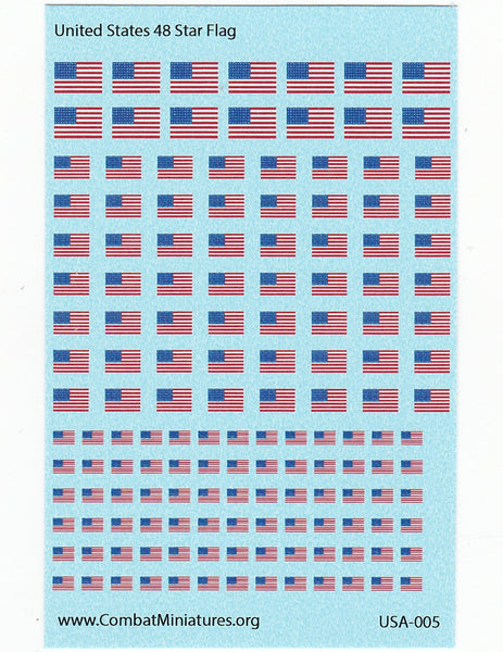 1/300-1/600 US 48 Star Flag Water Slide Decals
