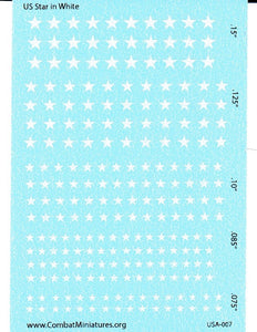 1/285 US Star in White Water Slide Decals