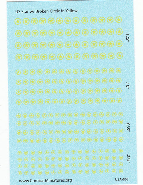 1/285 US Star in Broken Circle (Yellow) Water Slide Decals