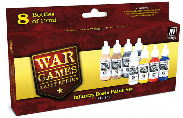 17ml Bottle Infantry Basic WWII Wargames Paint Set (8) Colors