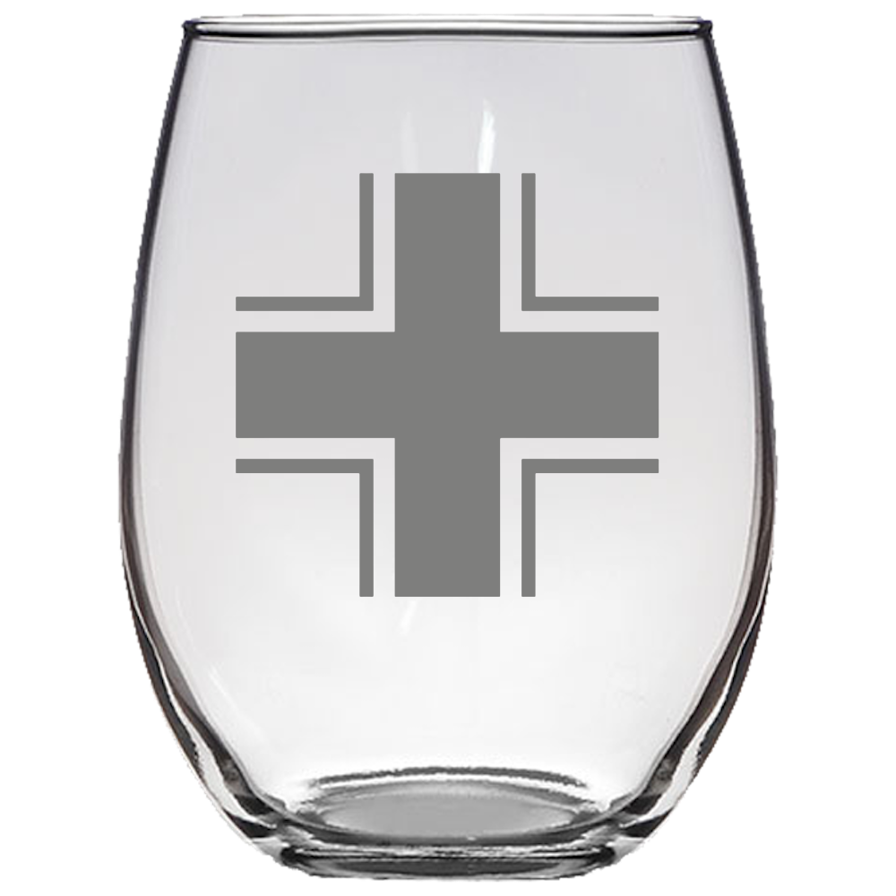 Balken Cross Stemless Wine Glass Laser Etched No Colored Art