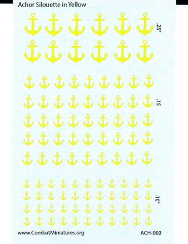 1/300-1/600 Anchor Silhouette in Yellow Water Slide Decals