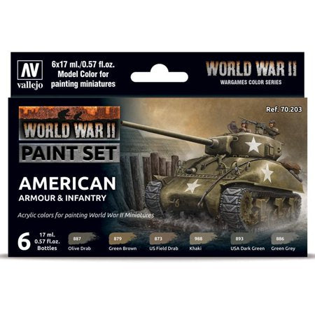 American Armour & Infantry Paint Set from Vallejo (6) Colors