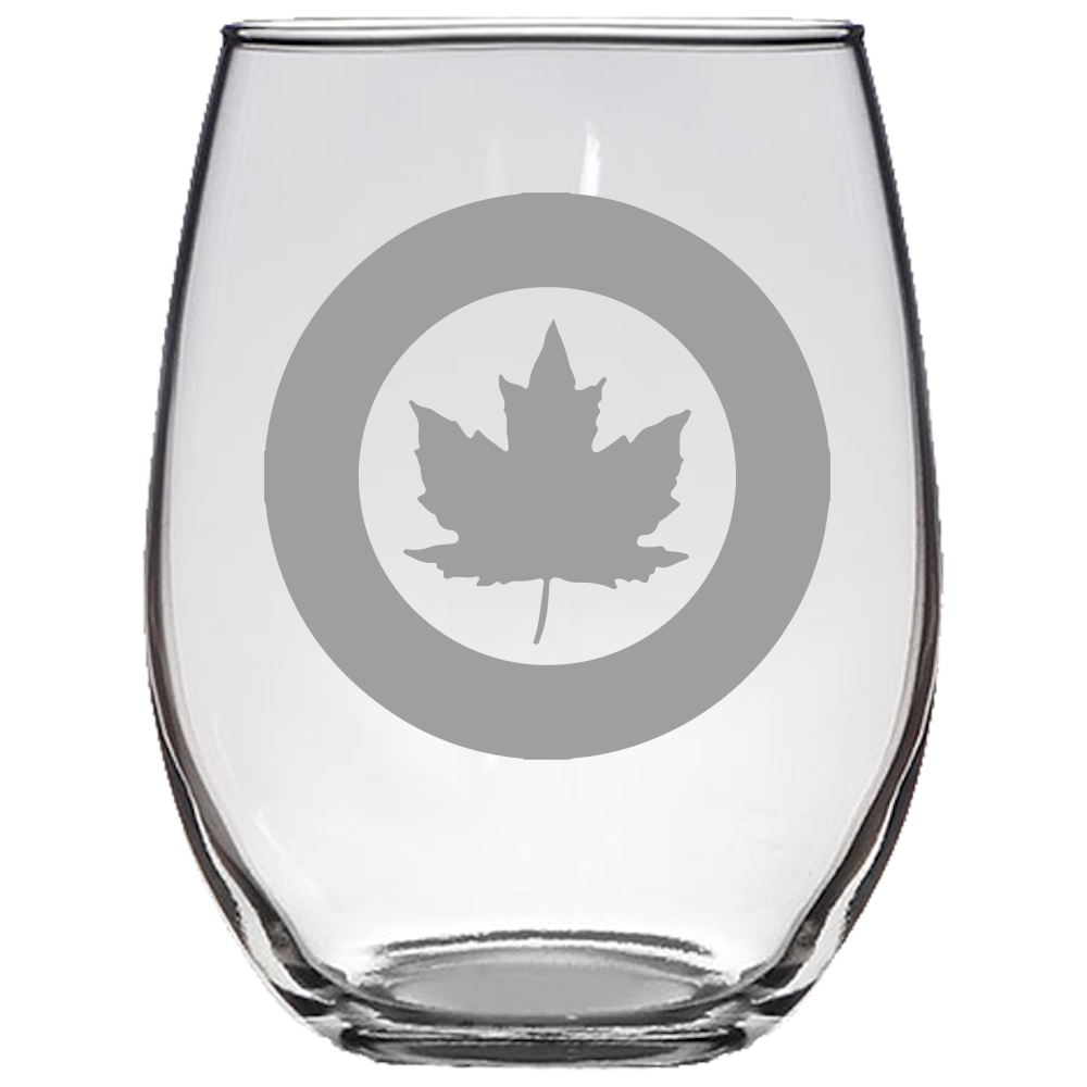 Canadian Roundel Stemless Wine Glass Laser Etched No Colored Art