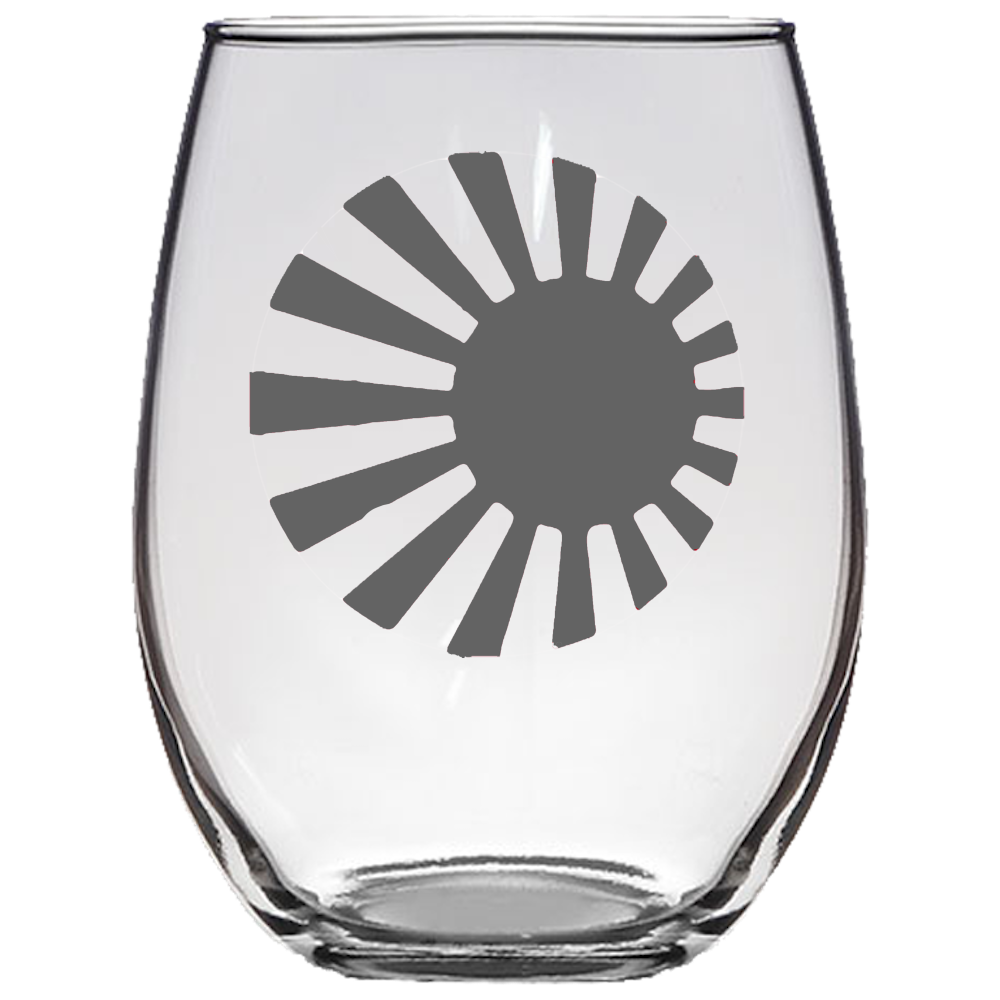 Japanese Roundel Stemless Wine Glass Laser Etched No Colored Art