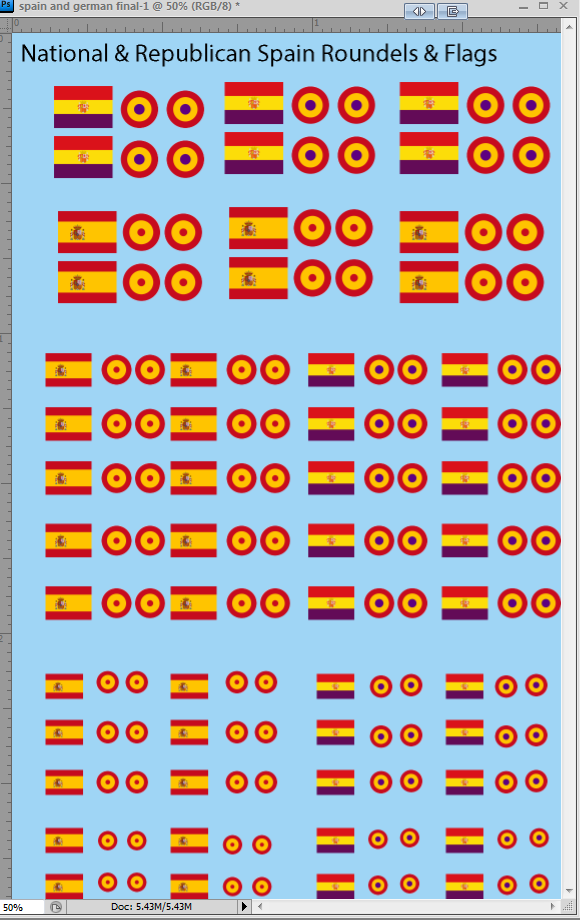 1/285 Spanish Civil War Flags and Roundels Water Slide Decals