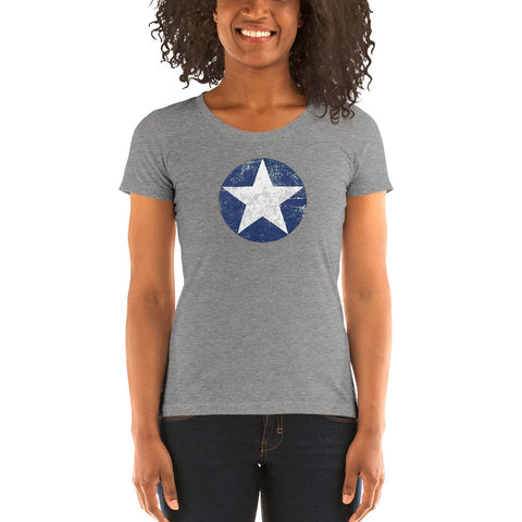 US Star Roundel (Distressed) Ladies' short sleeve t-shirt