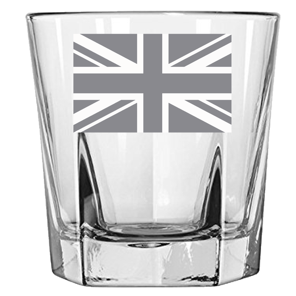 Union Jack Rock Glass Laser Etched No Colored Art
