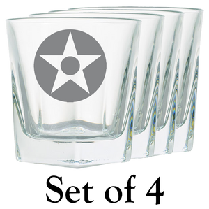 US Star with Dot Rock Glass - Set of 4