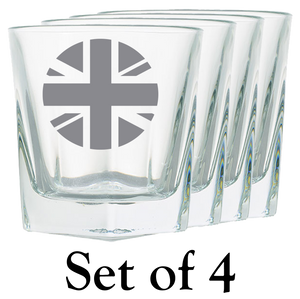 Union Jack Roundel Rock Glass (x4)