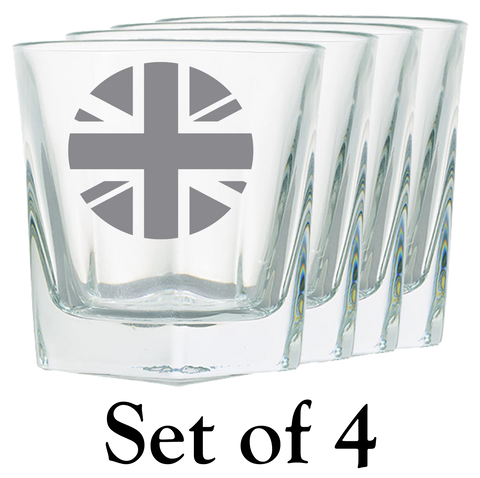 Union Jack Roundel Rock Glass - Set of 4