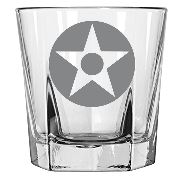 US Star with Dot Rock Glass