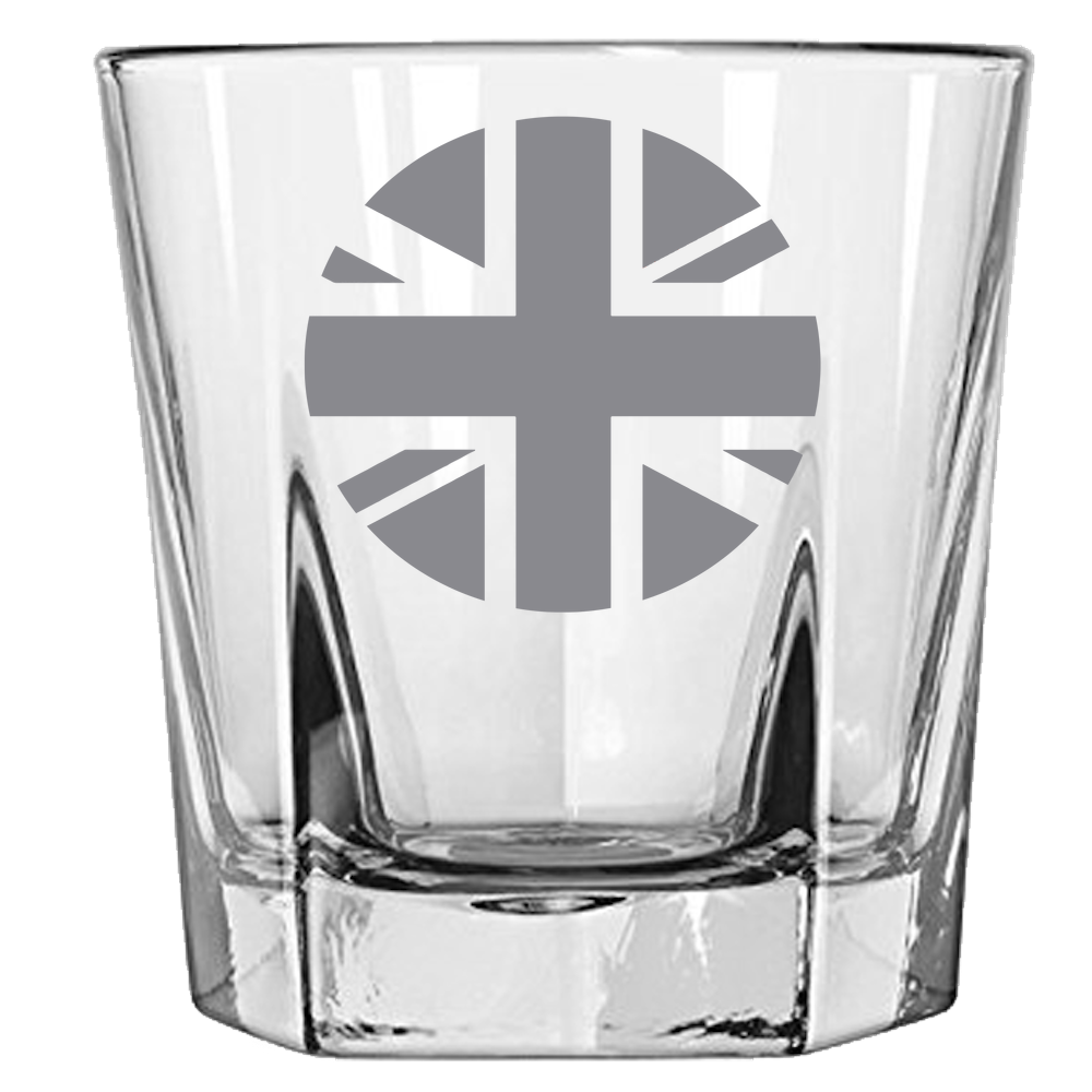 Union Jack Roundel Rock Glass