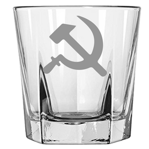 USSR Hammer & Sickle Rock Glass