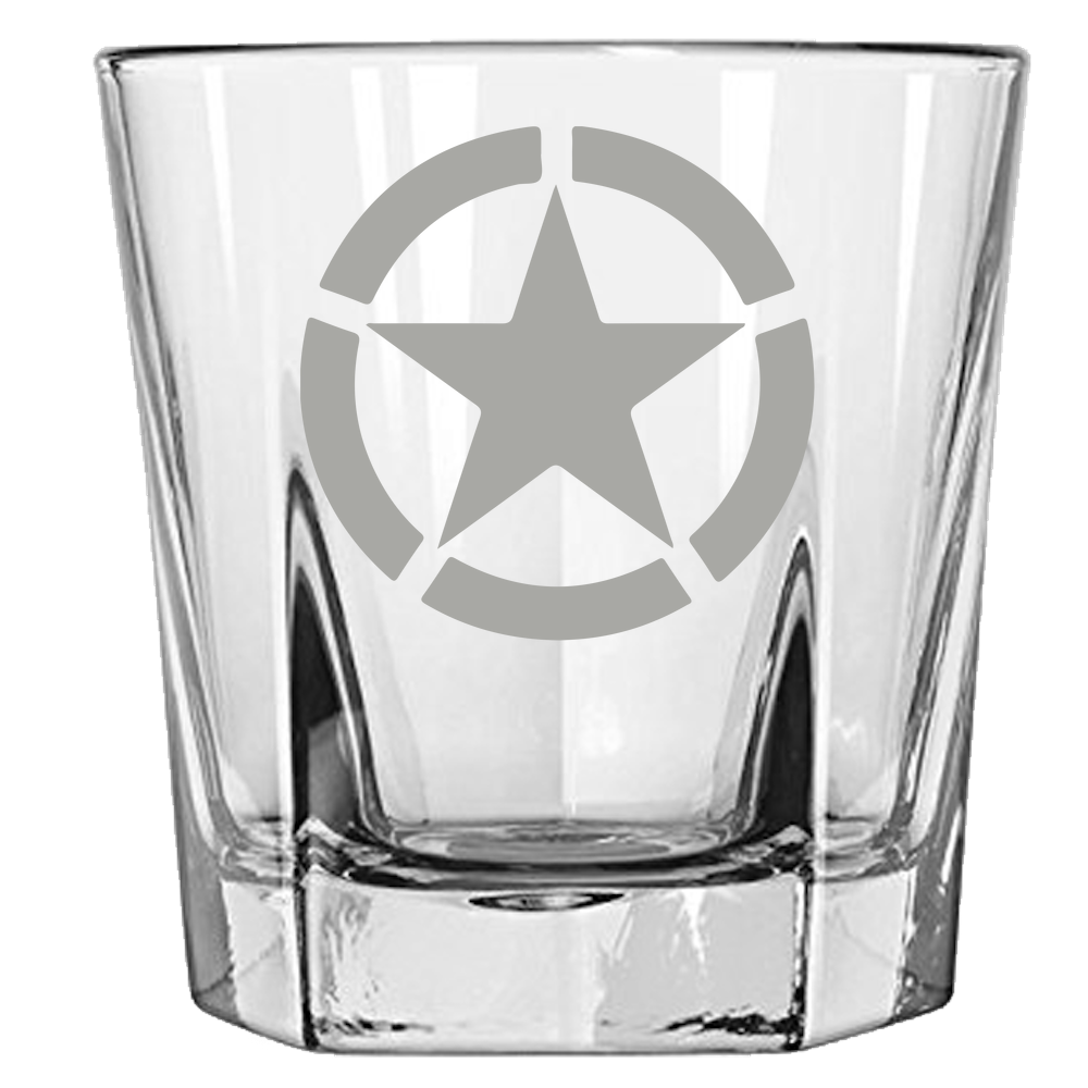 US Star with Broken Circle Rock Glass