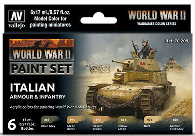 WW2 Italian Armour & Infantry Wargames Paint Set from Vallejo (6) Colors