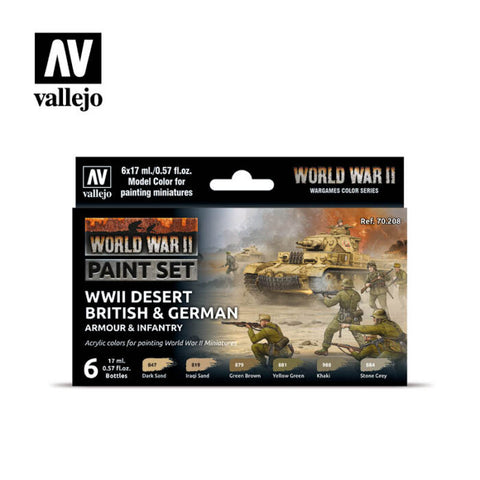 WW2 Desert British & German  Armour & Infantry Paint Set from Vallejo (6) Colors