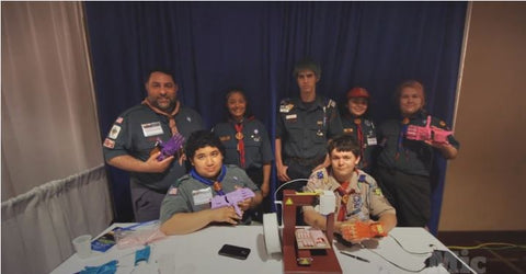 Scouts posed with 3D printer