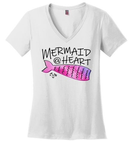 Mermaid At Heart Ladies V-neck T-shirt
