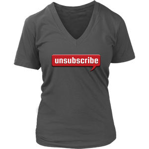 Women's V-Neck T-Shirt UNSUBSCRIBE Graphic