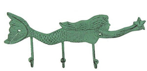 3 Hook Cast Iron Mermaid Wall Plaque, Verdigris Color, 10 Inches