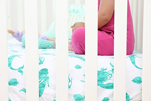 100% Organic Cotton Fitted Crib Sheet by ADDISON BELLE - Premium Baby Bedding - Soft, Breathable & Durable (Mermaid)
