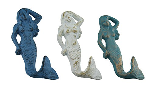 Zeckos Cast Iron Decorative Wall Hooks Cast Iron Catch 3 Pc. Blue & White Distressed Cast Iron Mermaid Wall Hook Set 2.5 X 5.5 X 0.75 Inches Blue