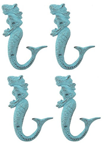 Chesapeake Bay 4 Mermaid Cast Iron Wall Hooks, Blue, 6 Inches Tall