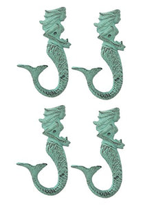 Chesapeake Bay 4 Mermaid Cast Iron Wall Hooks, Green 6 Inches Tall