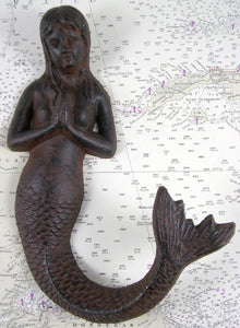 Large Cast Iron Praying Mermaid Hook