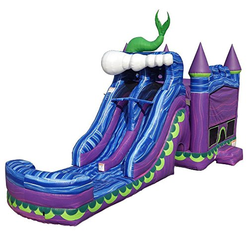 JumpOrange Commercial Grade Inflatable Mermaid Titan Dual Lane Bounce House with Slide Combo and Blower, Party Combo Moonwalk, 100% PVC VINYL