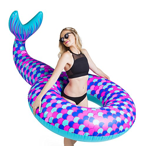 BigMouth Inc Giant Mermaid Tail Pool Float, Funny Inflatable Vinyl Summer Pool or Beach Toy, Patch Kit Included