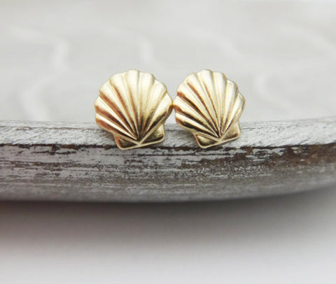 Earrings - Gold Color Mermaid Shell Stud Earrings