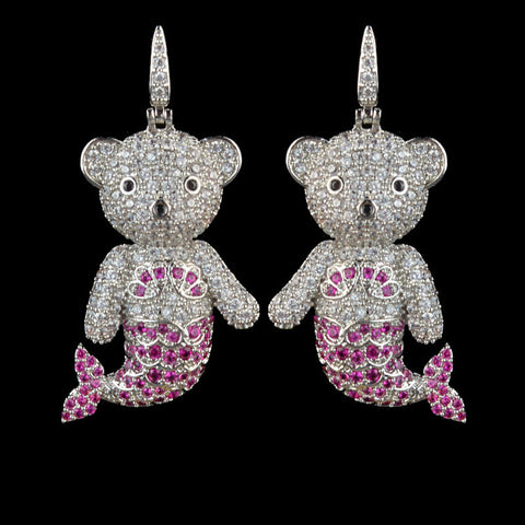 Earrings - Teddy Bear Mermaid Platinum-plated Micro Pave Cubic Zirconia Earrings - FREE SHIPPING!