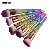 Makeup Brush - Makeup Brush Set - 10 Piece Magical Rainbow Mermaid Brushes FREE SHIPPING
