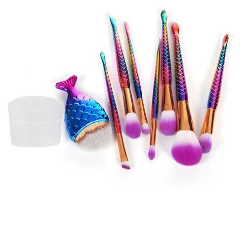 Makeup Brush - Makeup Brush Set - 8 Piece Rainbow Mermaid Tail Makeup Brushes - FREE SHIPPING!