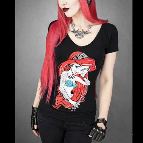 Tattooed Mermaid Princess - Black Short Sleeved T-Shirt