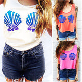 Mermaid Shell Bra Print Cropped Sleeveless T-shirt