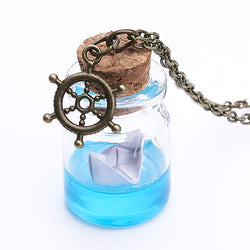 Paper Boat in a Bottle Necklace - Perfect for Those Homesick Mermaids!